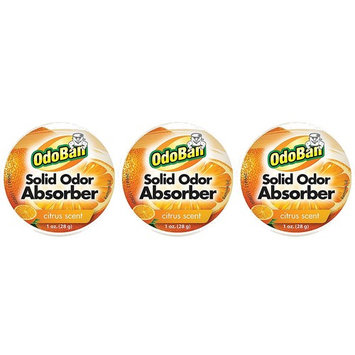 OdoBan Solid Odor Absorber Eliminator, Air and Pet Odor Freshener Purifier Multi Use Dye Free 3 Pack for Small Spaces, Citrus Fresh Scent