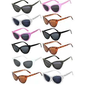 Retro Women's Cat Eye Vintage Sunglasses UV Protection Colored Frame Colored Lens Brand OWL (12 Pack)