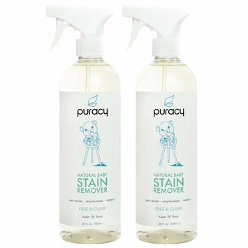 Puracy Natural Baby Laundry Stain Remover, Enzyme Odor Eliminator, Free & Clear, 25 Ounce (2-Pack)
