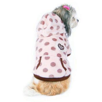Beige Dots with Hat Ultra soft fleece Hoodie Warm Coat Dog Jacket Clothes - Medium (Gift for Pet)