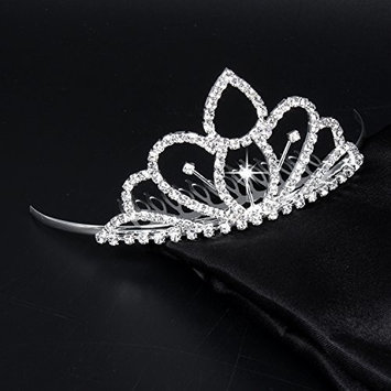 FUMUD Flower Girls White Tiara Small Crown Hair Combs Children/Women rhinestone crown shaped hair combs for Wedding
