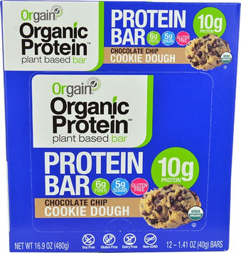Orgain Organic Protein Bar Chocolate Chip Cookie Dough - 12 Bars pack of 4