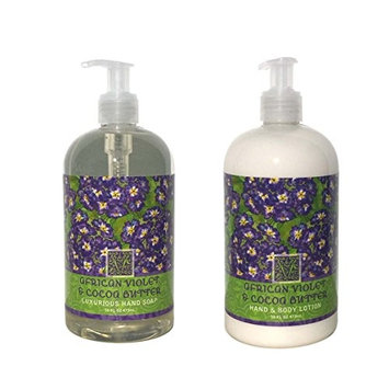 Greenwich Bay Trading Company Botanical Collection Bundle: African Violet & Cocoa Butter - 16 Ounce Shea Butter Lotion & 16 Ounce Hand Soap