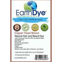 EarthDye Chemical Free Hair and Beard Dye (1 Packs, Copper Brown)