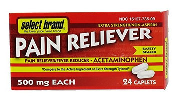 Select Brand Non-Aspirin Extra Strength Pain Reliever 500mg 24 caplets
