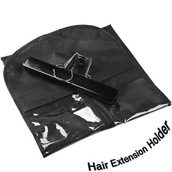 Kullke Hair Extension Holder with Hanger, Dustproof & Portable Storage Bag for Human Hair Extensions Wigs (Black)