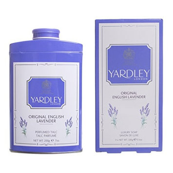 Gift Set - Yardley London English Lavender Perfumed Talc 7 oz (200 g) and English Lavender 3-pack Bath Bar