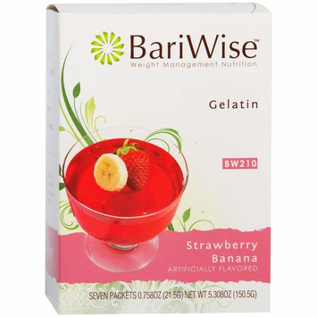 BariWise Low-Carb High Protein Diet Gelatin - Strawberry Banana (7 Servings/Box) - Fat Free, Sugar Free, Low Carb, Low Calorie, Aspartame Free…
