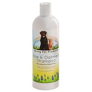 Spring Pet Aloe and Oatmeal Shampoo for Dogs and Cats with Nano-Encapsulated Vitamins A,C,D,E & F for Relief from Itchy, Scaling and Sensitive Skin ~ Contains Emollients to Restore Natural Moisture to the Skin ~ Hyopoallergenic ~ Soap Free ~ Safe for use with Topical Flea Control Products ~ Can be used Daily without Stripping Natural Oils ~ Alcohol-free ~ Proprietary Blend of Coat and Skin Conditioners and Moisturizers ~ Botanical Extracts ~ Coconut Oil and Almond Oil ~ Fresh Pina Colada Scent ~ Recommended