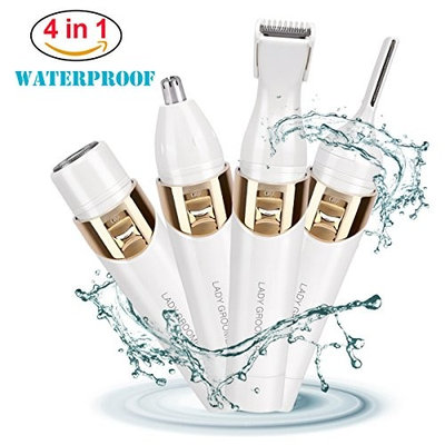 Hair Remover 4 in 1 Women's Painless Electric Hair Shaver, Eyebrow Shaping Body Shaver Nose Trimmer Facial Shave for Women Grooming Kit, Waterproof