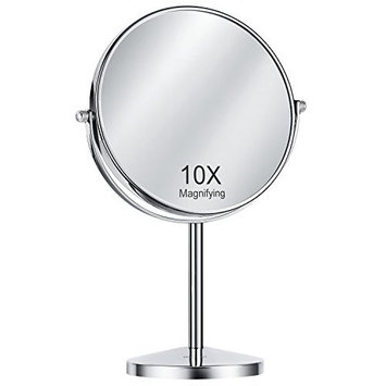Oak Leaf Double-Sided Magnifying Makeup Mirror, 1x/10X Magnification Tabletop Swivel Vanity Mirror, 8 Inch