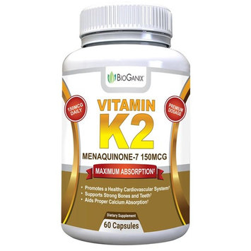 BioGanix Vitamin K2 MK7 (MenaQ7) for Maximum Bioavailability - Supports a Healthy Heart, Strong Bones and Teeth, Aids Proper Calcium Utilization - 150mcg Single Serving Supplement, 60 Capsules