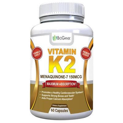 BioGanix Vitamin K2 MK7 (MenaQ7) for Maximum Bioavailability - Supports a Healthy Heart, Strong Bones and Teeth, Aids Proper Calcium Utilization - 150mcg Single Serving Supplement, 60 Capsules