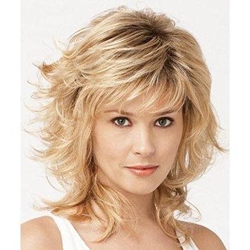 QianBaiHui Women's Wigs Blonde Medium Length Wavy Layered Hair Synthetic Full Wigs With Bangs