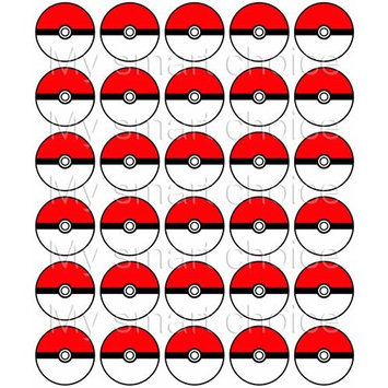 30 x Edible Cupcake Toppers – Pokemon: Pokeball Themed Collection of Edible Cake Decorations | Uncut Edible Prints on Wafer Sheet