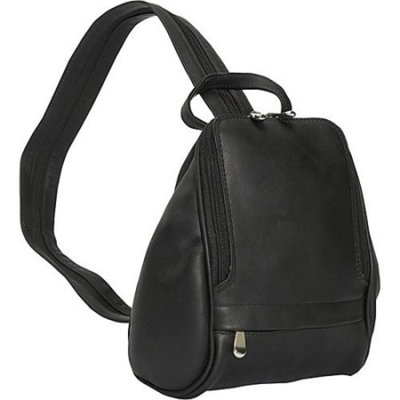 Convertible Leather Backpack or Sling Bag w Front & Side Pockets (Cafe)