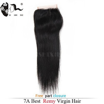 Brazilian Lace Closure Straight Remy Hair Natural Color 100% Human Hair Middle Part/Free Part/Three Part 4