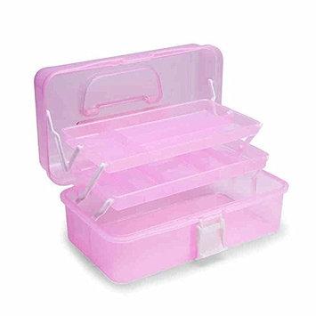 MagiDeal 3 Layer Portable Nail Art Makeup Craft Toolbox Organizer Case Pink
