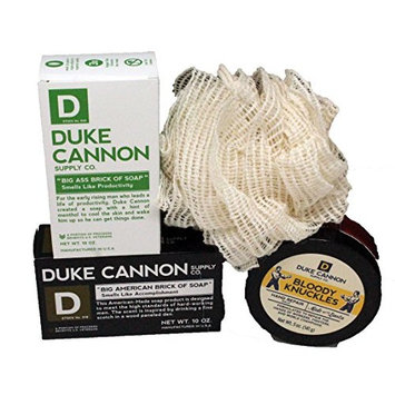 Duke Cannon For Men - 4 Pc Gift Set with 2 Duke Cannon Soaps, Bloody Knuckle Hand Cream and Natural Fiber Ramie Sponge