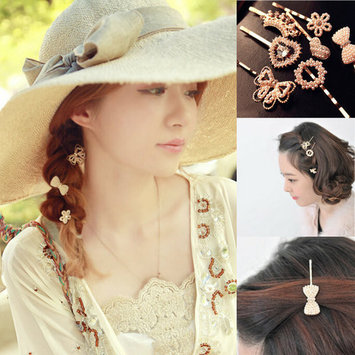 Dainty Dress Up Pearl and Crystal Hair Pins Bow