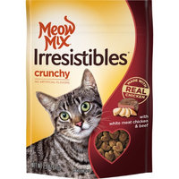 Meow Mix Irresistibles Crunchy With Real White Meat Chicken And Beef Dry Cat Treats, 2.5 Oz