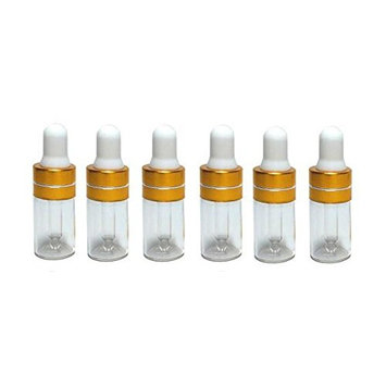 6PCS 3ML Clear Glass Empty Essential Oil Attar Bottles Cosmetic Liquid Sample Container Bottle Pot with Eye Glass Dropper for Make up