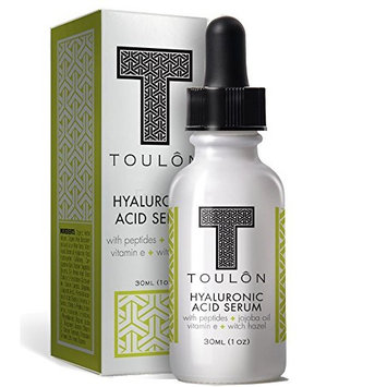 Organic Hyaluronic Acid Serum for Face with Peptides, Jojoba Oil, Vitamin E & Witch Hazel; Reduce Fine Lines & Sun Spots; Natural & Organic: