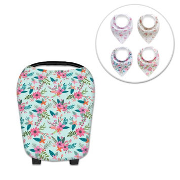 Besmall Breastfeeding Nursing Cover Scarf Baby Car Seat Canopy + 4 Drooling Bibs Unisex Snap Button Stretchy Multi-Use