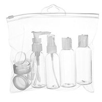 WANDF Clear Toiletry Bag Leakproof Dopp Kit w/Refillable TSA Approved Bottle Set - 6 Liquid Containers