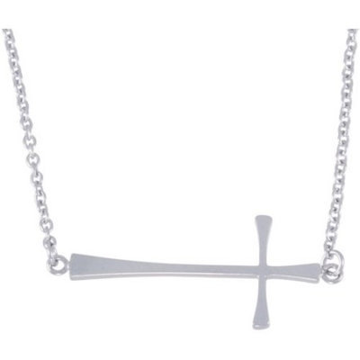 Connections from Hallmark Stainless Steel Sideways Cross Pendant, 18
