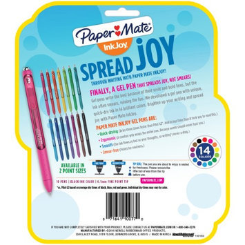 Paper Mate(R) InkJoy(R) Retractable Gel Pens, Fine Point, 0.5mm, Black Barrel, Black Ink, Pack Of 10