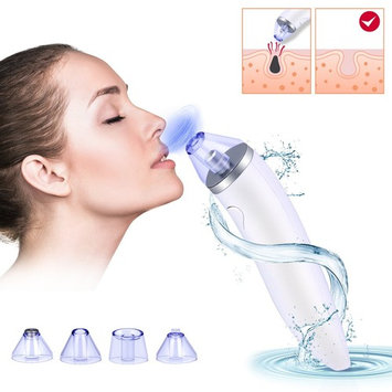 Blackhead Remover, USB Rechargeable Comedo Vacuum Suction Electric Facial Pore Cleanser Exfoliating Acne Extractor Skin Firming Machine With 4 Heads (White)