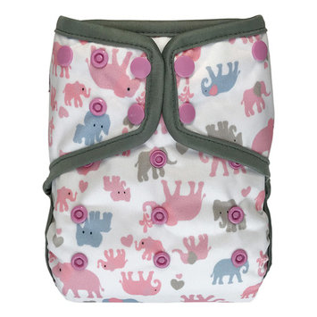 EcoAble Baby Waterproof PUL Cloth Diaper Cover AI2, Snaps (Size 2 / 15-35lb, Elephant)