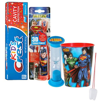 Justice League 4pc. Bright Smile Oral Hygiene Set! Superman Spin Toothbrush, Crest Kids Toothpaste, Brushing Timer & Mouthwash Rise Cup! Plus Dental Gift Bag &