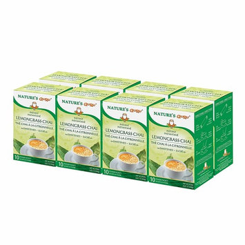 Nature's Guru Instant Lemongrass Chai, Sweetened, 10 Count, 5.64 Oz (Pack of 8), Convenient On-the-Go Instant Hot Chai Mix in Single Serve Packets, All Natural, Just Add Hot Water and Stir