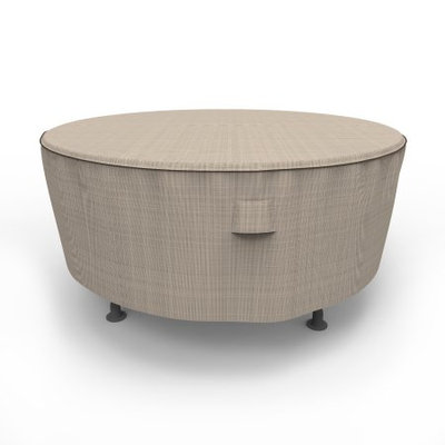 Budge 72 Dia. x 28 Drop in. English Garden Round Patio Table Cover - Tan Tweed