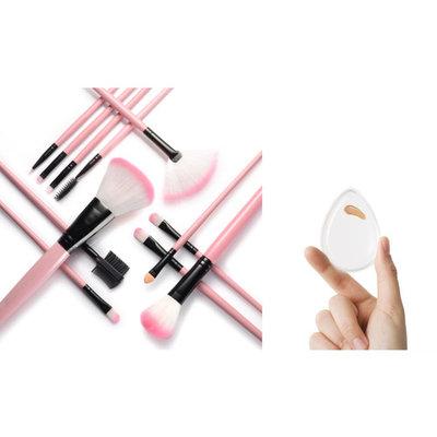 Zodaca 12pcs Makeup Brushes Set (12 Count) Powder Foundation Eye shadow Eyeliner Powder Blush Contouring Blending Tools with Pink Case Bag and Clear Water Drop Silicone Makeup Sponge Bundle