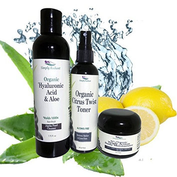 Simply Radiant Beauty Organic Face Cleaning Set- Hyaluronic Acid Cleanser, Citrus toner, Triple Action Daily Moisturizer