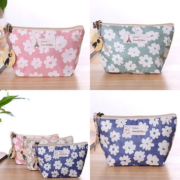 POLYHYMNIA Travel Floral Flower Cosmetic Makeup Bag Case Toiletry Holder Organizer Pouch