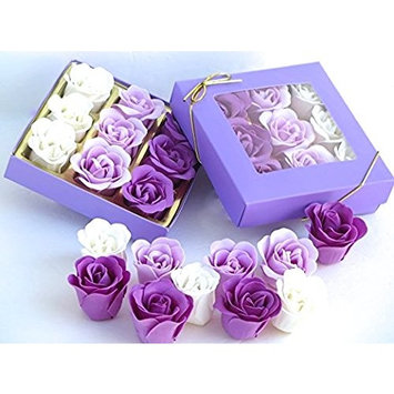 Rose flower scent Bath Bombs, nine rose scent flower in a purple gift box.