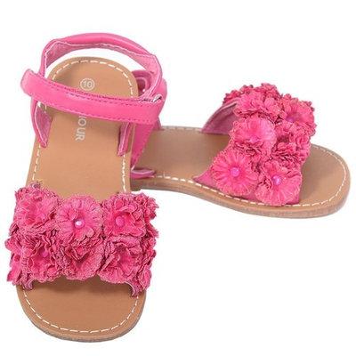 L'Amour Fuchsia Sparkle Flower Velcro Summer Sandal Little Girl 11-2