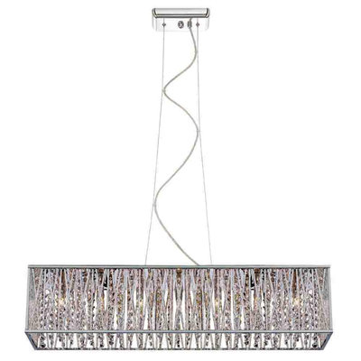 Home Decorators Collection 7-Light Chrome with Woven Laser Cut Crystal Shade Rectangular Pendant
