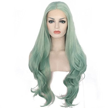 Ebingoo Long Body Wave Green Synthetic Lace Front Hair Wig For White Women