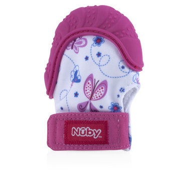 Nuby Soothing Teething Mitten with Hygienic Travel Bag, Pink Butterfly