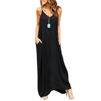 Women's Boho Loose Fit Beach Wear Spaghetti Straps Casual Maxi Dress