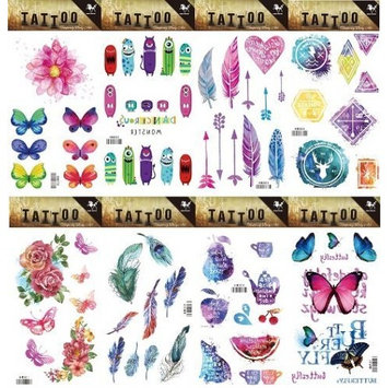 Grashine 8pcs different long last and realistic temporary tattoos in 1package, it including feather and Geometry,,roses,butterflies,colorful flowers tattoo stickers