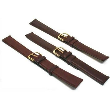 3 Pc Watch Band Set Brown Leather Padded Calf Long 18mm