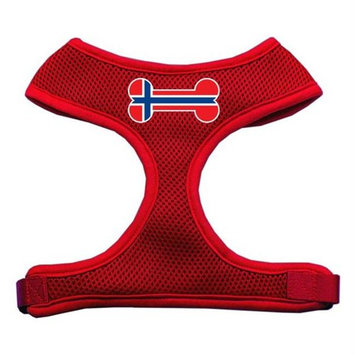 Mirage Pet Products Bone Flag Norway Screen Print Soft Mesh Dog Harnesses, Medium, Red