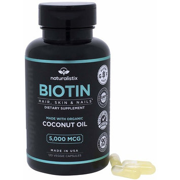 Naturalistix Biotin 5,000 mcg Veggie Capsule; Vitamin B7 for Hair, Skin, Nails Promotes Hair Growth, Healthy Skin, Strong Nails, Reduces Hair Loss; 120 Soft Veggie Capsules; Made In USA.