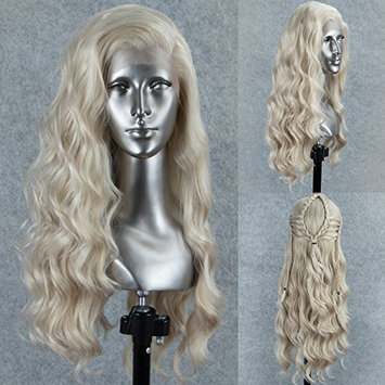 Persephone Glueless Platinum Blonde Lace Front Wig Wavy Fashion Long Light Blonde Synthetic Wigs for Women Half Hand Tied Repalcement Hair Wig...